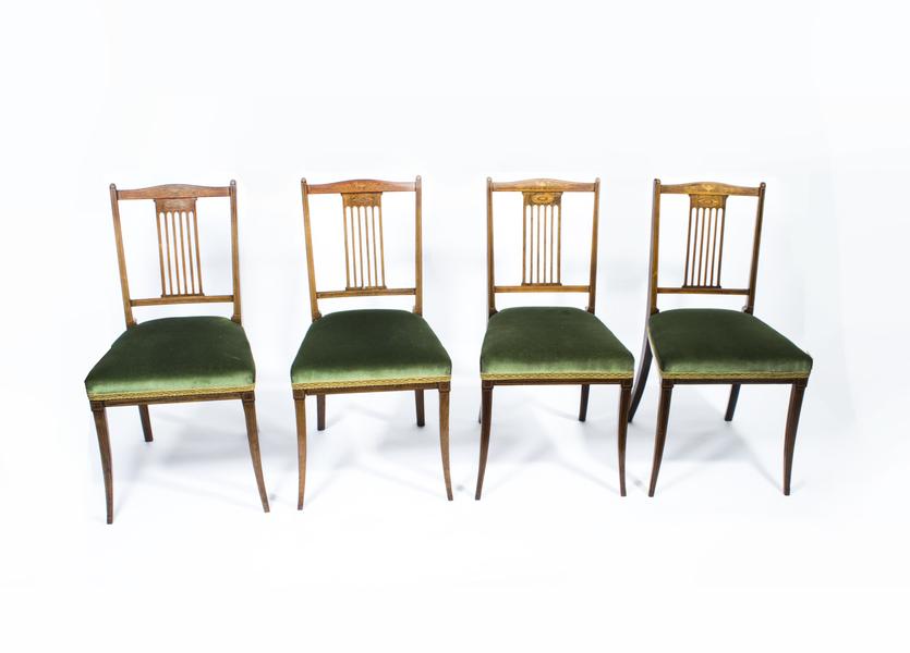 Set Of 4 Edwardian Inlaid Rosewood Chairs  photo 1
