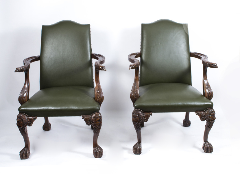 Pair Of Large Birds Of Prey Leather Library Chairs photo 1
