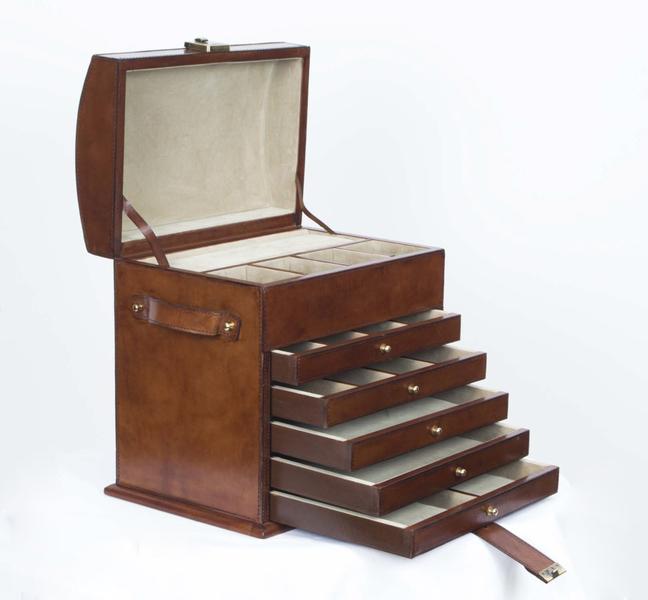 Hand Made Leather Jewellery Box Casket