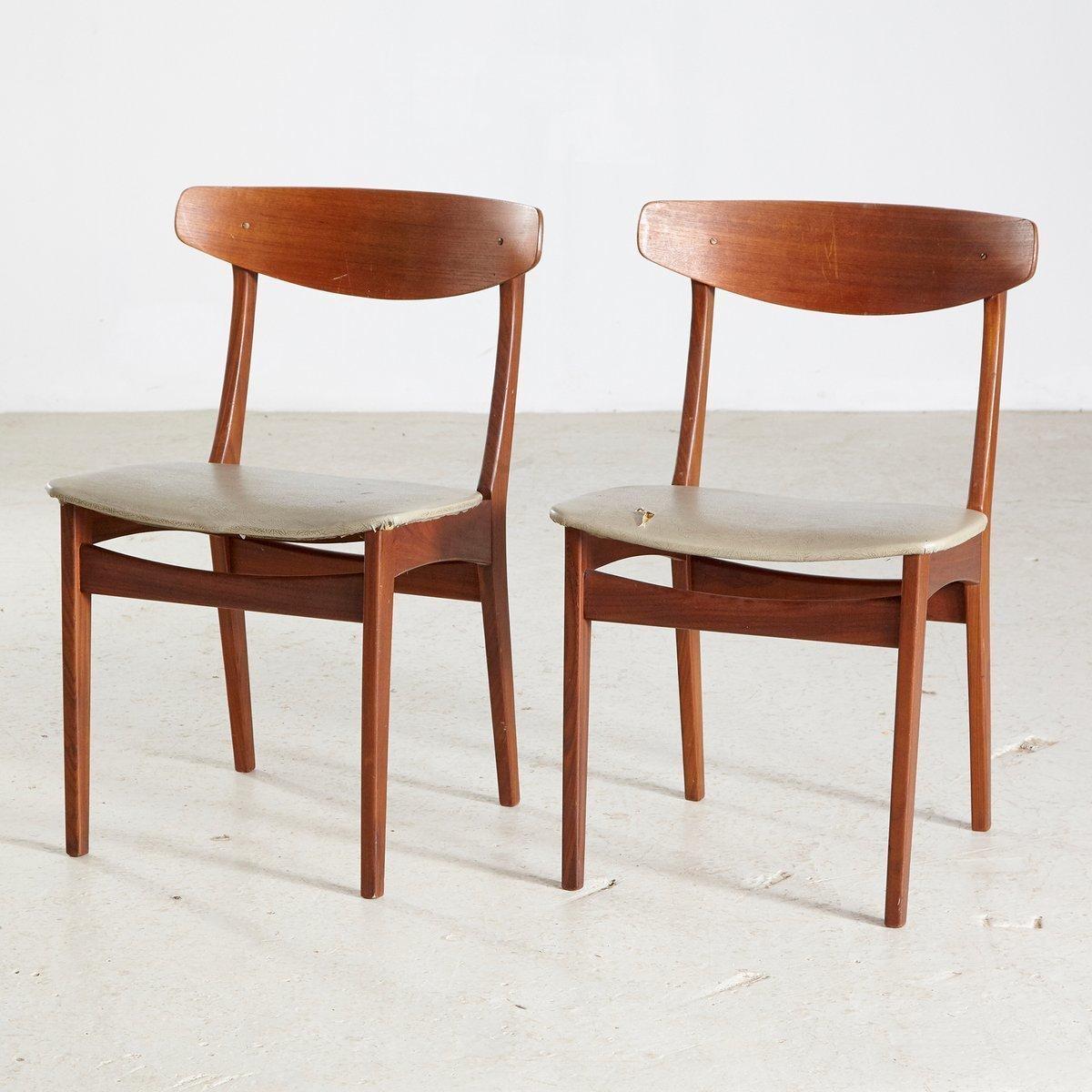 Mid Century Danish Teak Dining Chairs 1960s Set Of 2 Vinterior