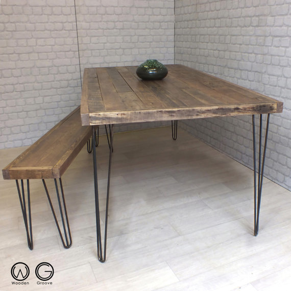 Reclaimed Pallet Dining Table And Bench Hairpin Legs By: Hairpin Legs Industrial Reclaimed Timber Dining Table And