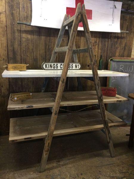 Upcycled Vintage Old Wooden Trestle Ladders Pine Doors As Shelving Shop Wedding
