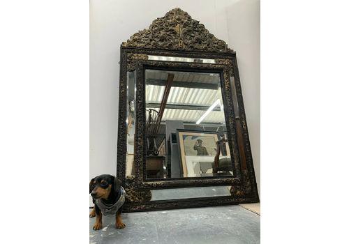 "Large 19th C Franco Flemish Ebony & Brass Repoussé Bevelled Cushion Mirror 67"""
