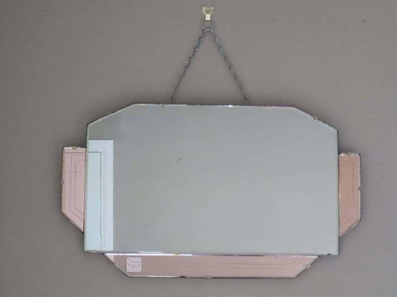 Unique Decorative Pink Art Deco Wall Mirror With Geometric Panels And Design Original Brass Clips Vinterior