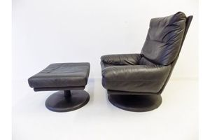 Thumb rolf benz forum grey black leather loungechair with ottoman 0