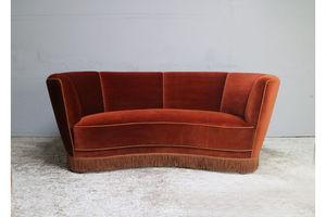 Thumb 1930 s danish art deco 3 seat red velvet sofa 0