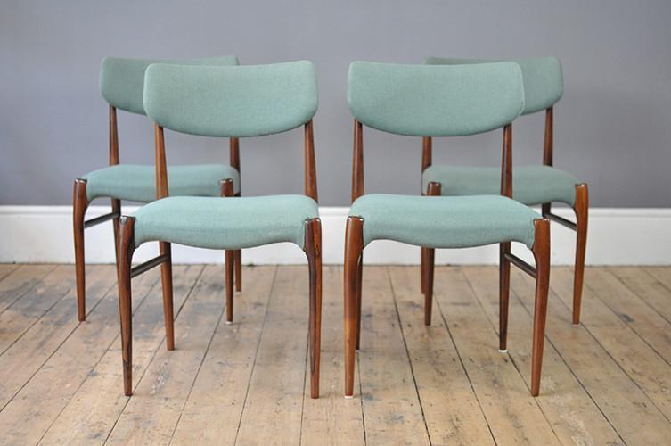 Set Of Four Turquoise Rosewood Dining Chairs photo 1