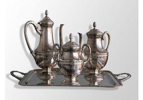 4 Piece Tea Set In Silver Metal