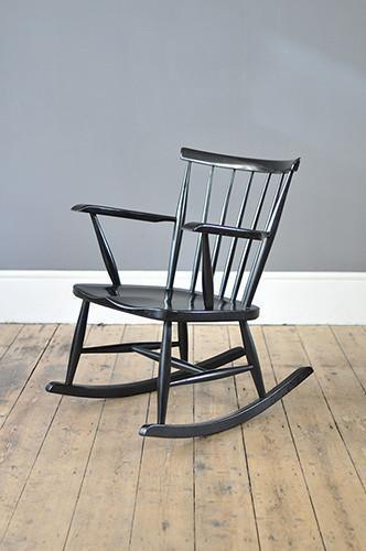 Spindle Back Black Rocking Chair