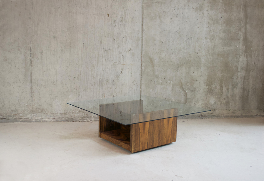 Very Cool Danish 1970's Rosewood And Glass Coffee Table