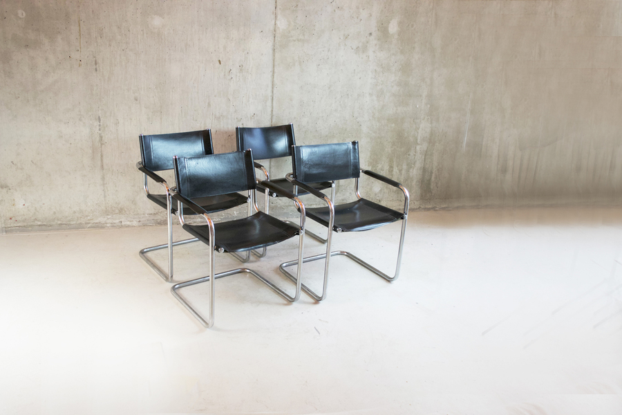 Set Of Four 1970's Bauhaus Style Black Leather Chairs With Chrome Frame