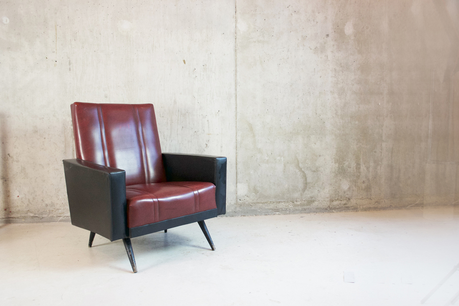 1960's Belgian Vintage Armchair In Black And Maroon Vinyl