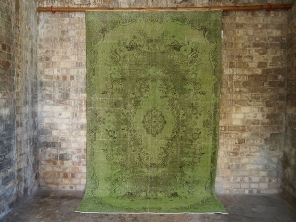Green Vintage Over Dyed Turkish Rug