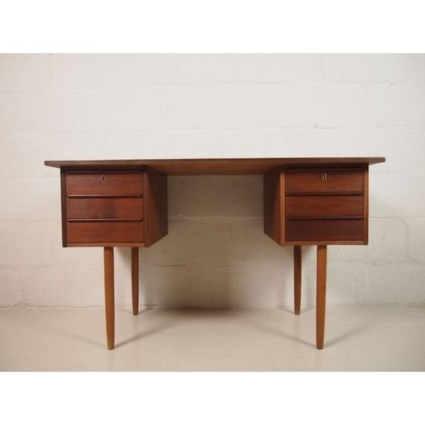 Danish Midcentury Teak Desk With Six Drawers