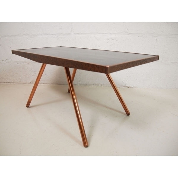 Vintage Coffee Table With Copper Legs