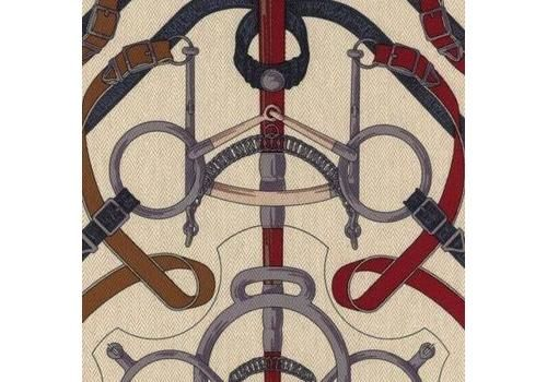 Hermes Eperon D'or Upholstery Fabric   Equestrian Design