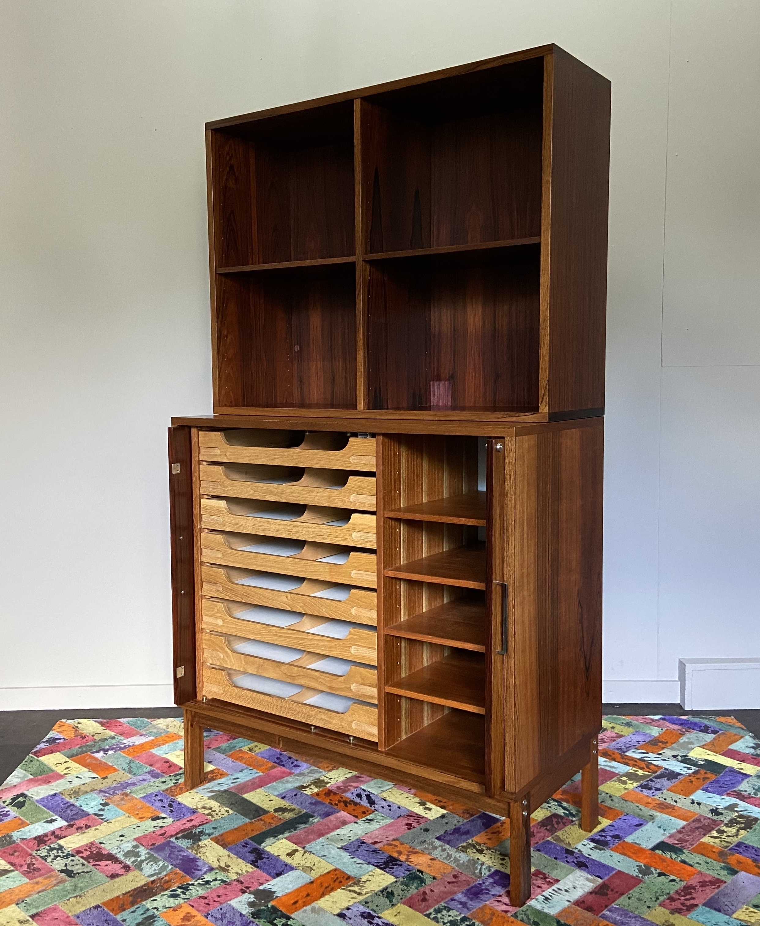 Image of: Danish Rosewood Midcentury Bookcase Chest Of Drawers Sb Mobler Vinterior