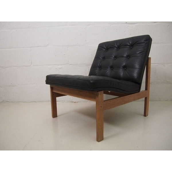 Ole Gjerløv Knudsen & Torben Lind Black Leather Chair photo 1