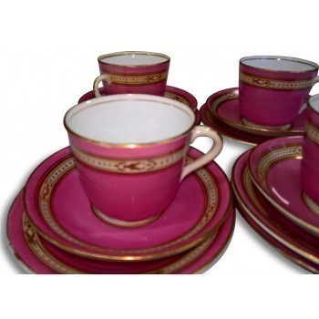 Antique Porcelain Pink & Gold Enamelled Tea Ware   Three Trios