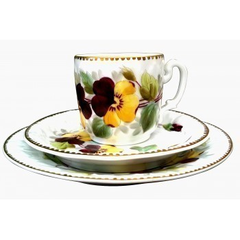 Antique Hand Painted Trio Decorated With Pansies And Gilded 1870s