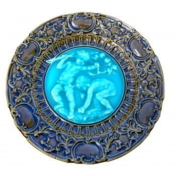 Villeroy And Boch Antique Majolica Putti Cherub Plate Blue And Green