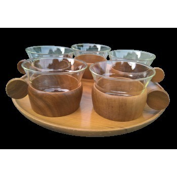 Givit Retro Wooden Tray Schott And Mainz Glasses And Wooden Cup Holders