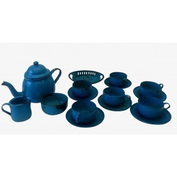 Victorian Miniature Enamel Teaset In Blue With Black Trim