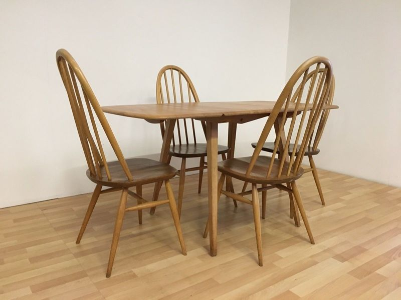 Vintage Ercol 1960s Drop Leaf Dining Table And Four Matching Chairs Model 383