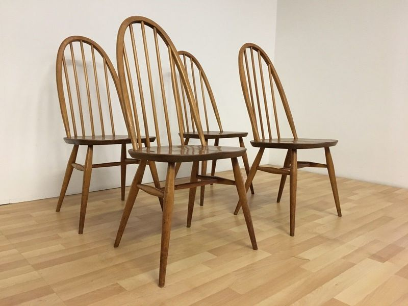 Ercol Vintage 1960s Mid Century Blonde Elm Quaker Dining Chairs Model 365