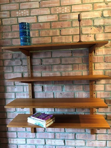4 Teak Wall Shelves On Batons Mid Century 1960's