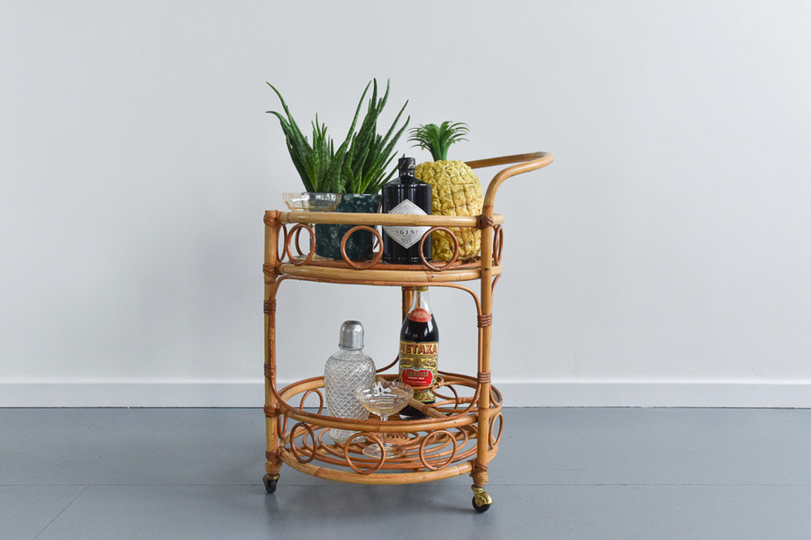 Vintage Bamboo Drinks Trolley / Cart