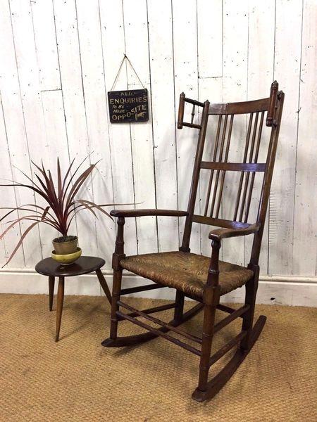 Arts & Crafts Rocking Chair, Bobbin Turned, Rush Seat, Libertys