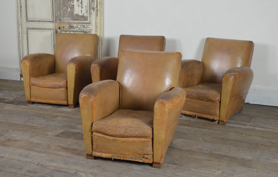 Set Of 4 Matching French Leather Club Chairs