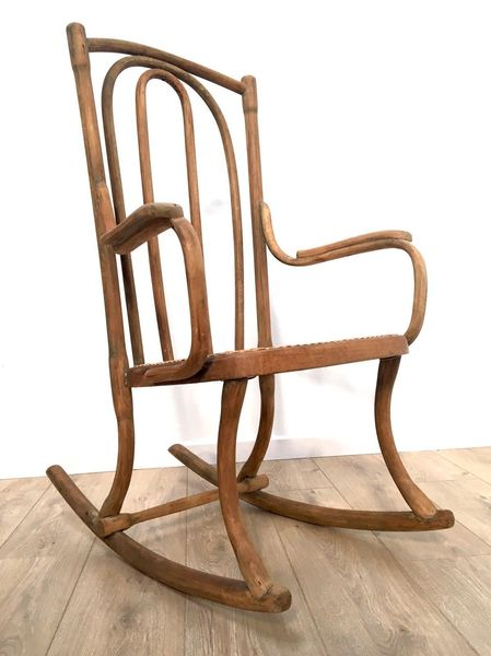 Vintage Bentwood Rocking Chair With Rattan Woven Seat Thonet