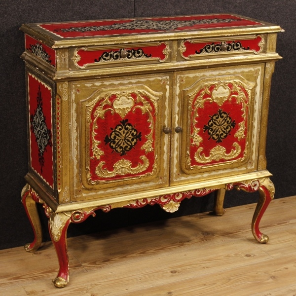 Florentine Lacquered, Golden And Silvered Sideboard
