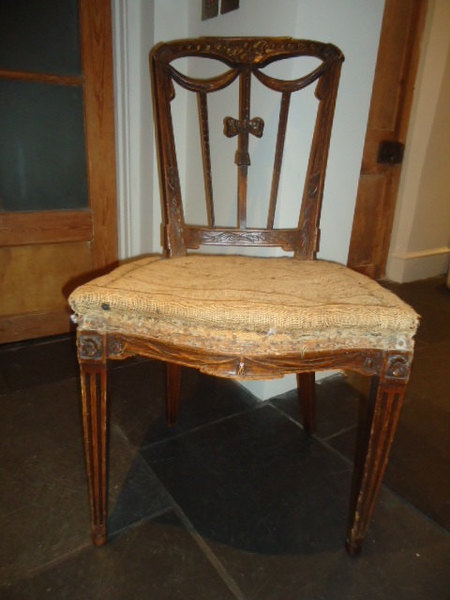 Antique French Oak Carved Ribbon Back Salon Chair For Upholstery