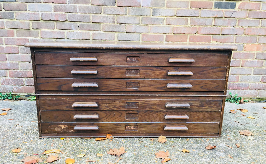 Vintage A0 Abbess Industrial Plan Chest Architects Drawers Map Haberdashery Oak