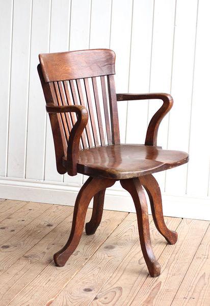 Vintage Antique Edwardian Oak Office Swivel Captains Chair