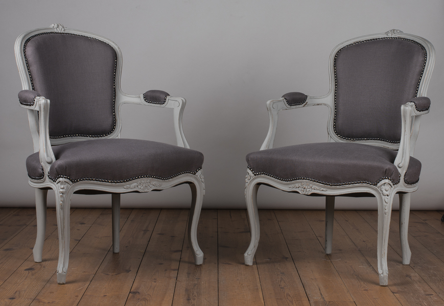 Pair Of French Louis Xv Style Painted Upholstered Fauteuil Armchairs