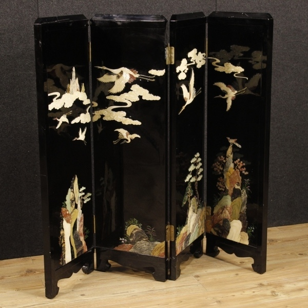 French Screen Lacquered Chinoiserie