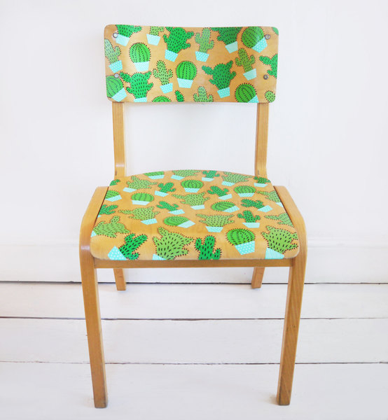 Upcycled Hand Painted Cacti Motif Retro Vintage School Chair