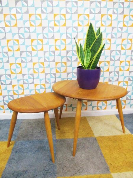 Vintage Ercol Pebbles Nest Of 2 Tables Blonde Refinished Retro Mid Century Home
