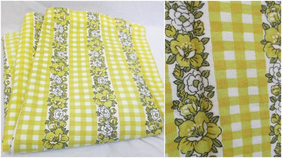 Pair Vintage 1960's Yellow Floral Check Curtains Mid Century Retro Home Kitsch