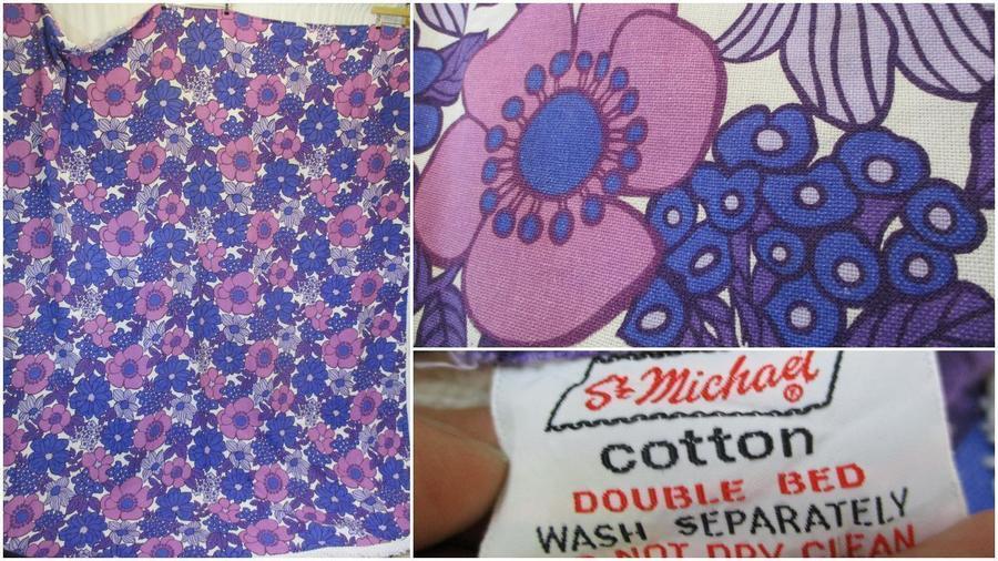 Vintage 1970's St Michael Purple Floral Double Bedspread Groovy Mid Century Home