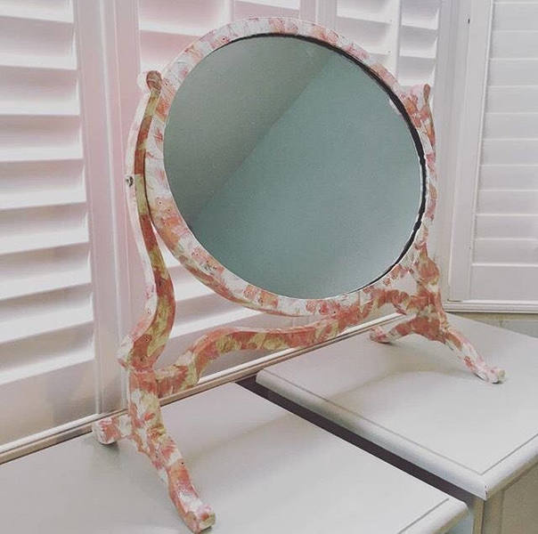 Upcycled Mid Century Vintage Retro Dressing Table Mirror Pink Lovebird Decoupage Antique Mirror
