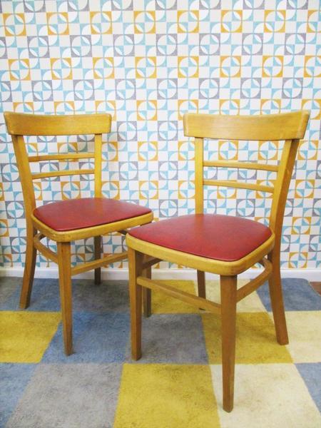 Pair Vintage 1970's Dining Chairs Wood & Red Vinyl Mid Century Retro Kitchen