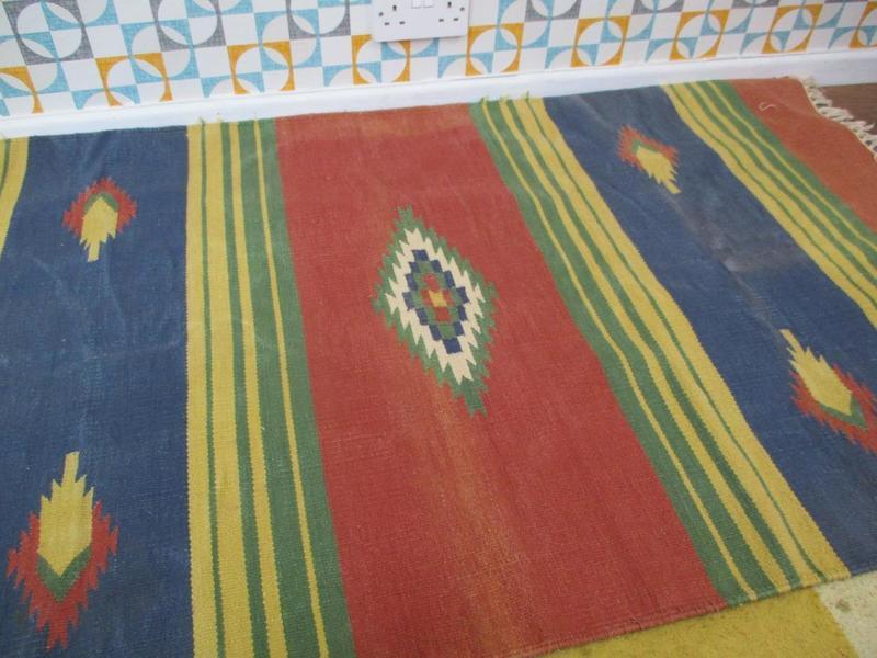 Vintage 1990's Navajo Aztec Tassel Rug Woven Cotton Hall Long Retro Scandi Home