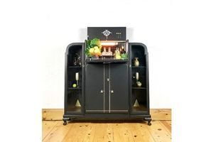 Thumb art deco style cocktail cabinet 1960 s mid century black and gold retro style with light and display cabinet 0