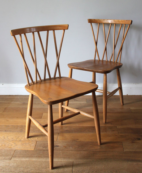 Pair Of Original Vintage Ercol Candlestick Dining Chairs ...