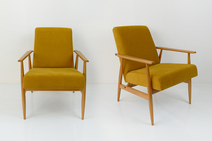 Pair Of Yellow Vintage Lounge Armchairs From 60's